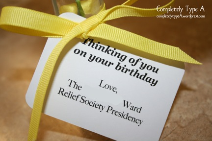 Relief society birthday visit gifts completely type a for Idea door relief society
