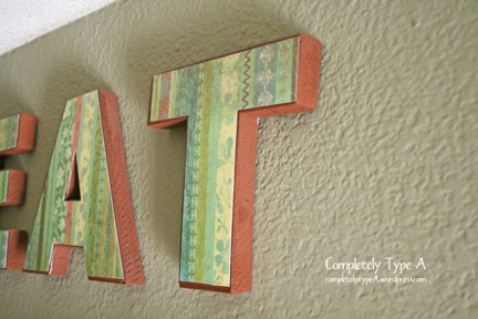 Wood Letters Decorated With Card Stock And Mod Podge Completely Type A