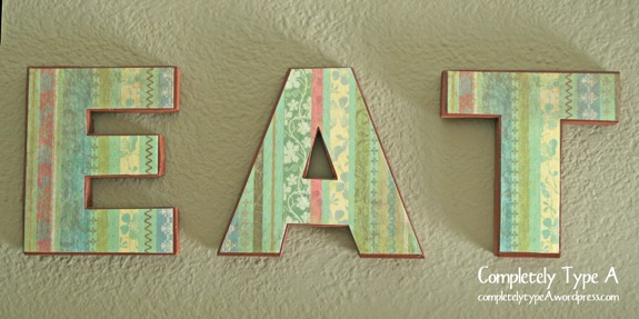Wood Letters Decorated with Card Stock and Mod Podge