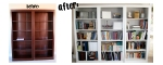 Book Shelf Makeover with Paintable Wainscoting Wall Paper
